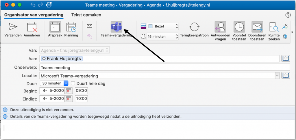 Teams-vergadering lobby afspraak agenda-item